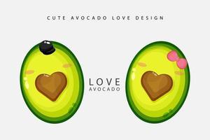 schattig avocado liefde ontwerp vector