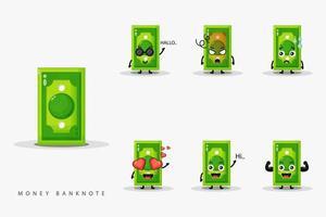 schattig geld bankbiljet mascotte set