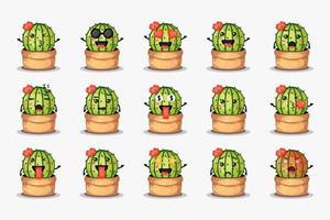 schattige cactus in een pot met verschillende uitdrukkingen in te stellen vector