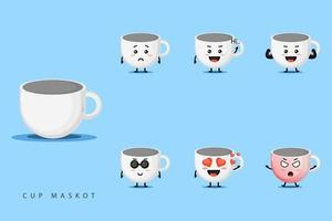 schattige beker mascotte ontwerpset vector