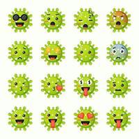 set van schattige virussen met uitdrukkingen vector