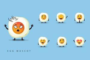 set mascotte schattige eieren vector