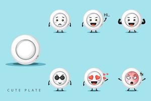 schattige mascotte plaat ontwerpset vector