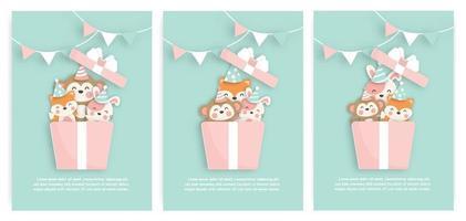 set verjaardagskaarten met schattige vos, aap en tijger in een geschenkdoos vector