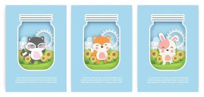set verjaardagskaarten, babydouche kaarten met schattige wasbeer, vos en konijn vector