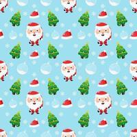 kerst thema naadloze patroon. schattige kerstman en een kerstboom