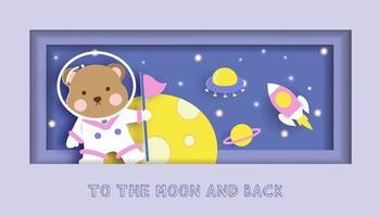 babydouche kaart met schattige teddybeer staande op de maan vector