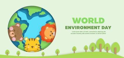 wereldmilieudag banner met schattige dieren in papierstijl. vector
