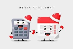 schattige rekenmachine en kalender, mascotte hand in hand met kerstkleren vector