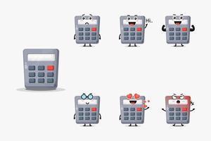 schattige rekenmachine mascotte set vector