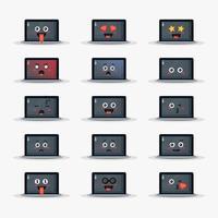 schattige laptop met emoticons set vector