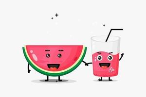 schattige watermeloen en watermeloen sap mascotte hand in hand vector