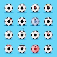 set van schattige voetbalbal met emoticons vector