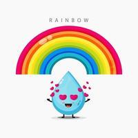 illustratie van schattig water en een regenboog