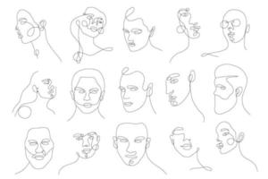 lineaire portretten van vrouwen en mannen instellen. doorlopend lineair silhouet van vrouwelijk gezicht. overzicht hand getrokken van avatars meisjes. lineair glamourlogo in minimale stijl voor schoonheidssalon, visagist, stylist vector