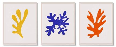 trendy eigentijdse set van abstracte matisse geometrische minimalistische artistieke handgeschilderde algensamenstelling. vector posters voor wanddecoratie in de moderne stijl van het midden van de eeuw