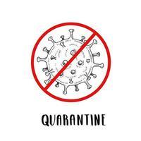 coronavirus pictogram met rood verbieden inloggen schets stijl. hand getrokken coronavirus-bacteriën. stop het coronavirus. gevaar voor coronavirus en risico voor de volksgezondheid ziekte en griepuitbraak. vector illustratie