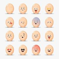 set van schattige kippeneieren met emoticons vector