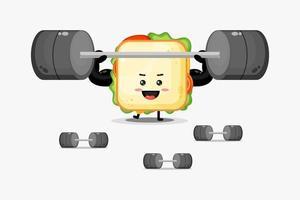 schattige sandwichmascotte die een halter opheft vector