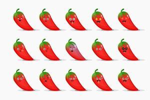 schattige rode pepers met emoticons set