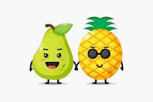 schattige peren en ananas mascottes hand in hand vector