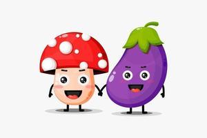 schattige paddestoel en aubergine mascotte hand in hand