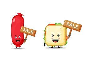 schattige worst en mascottesandwich met het verkoopbord