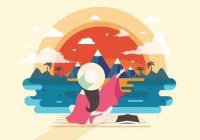 Strandbedelaar met de Vector van de Zonsondergangmening