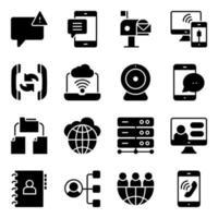 pakket met solide pictogrammen voor communicatie en netwerktechnologie