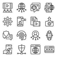 pakket website en communicatie lineaire pictogrammen