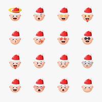 jongen met kerstmuts met emoticon set vector