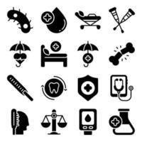 pakket van medische hulpmiddelen en apparatuur solide pictogrammen