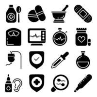 pakket van solide pictogrammen voor de gezondheidszorg