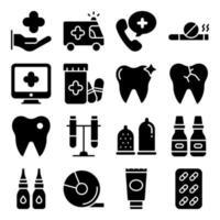 pakket medische accessoires solide pictogrammen vector