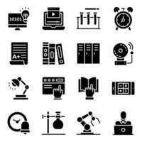 pak moderne onderwijs solide pictogrammen
