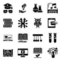 pakket met solide pictogrammen voor onderwijs en kennis