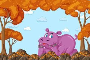 nijlpaard stripfiguur in lege herfst bosscène