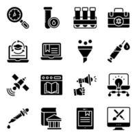 pakket met solide pictogrammen voor online onderwijs