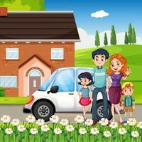 gelukkige familie staande voor het huis