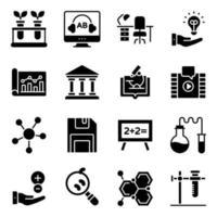 pakket solide pictogrammen van het wetenschappelijk onderwijs