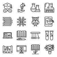 pakket onderwijs en kennis lineaire pictogrammen