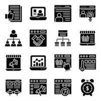 pakket zakelijke solide pictogrammen