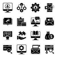 financiën en beheer solide pictogrammen pack