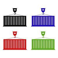 set van vrachtcontainers op witte achtergrond vector