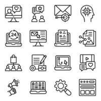 seo en media lineaire pictogrammen pack