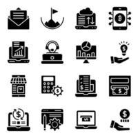 online gegevensanalyse solide pictogrammenpakket vector
