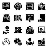 pakket met solide fintech-pictogrammen vector