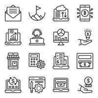 online data-analyse lineaire pictogrammen pack vector