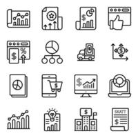 financiële statistieken lineaire pictogrammen pack
