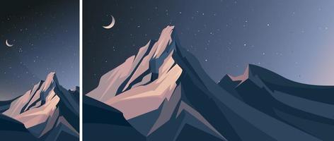 bergen in de nacht. natuurlandschap in verticale en horizontale oriëntatie. vector